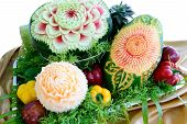 Mixed Fruit Carvings Is Isolated On White