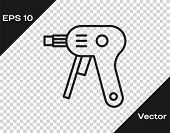Black Line Electric Hot Glue Gun Icon Isolated On Transparent Background. Hot Pistol Glue. Hot Repai poster