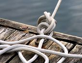 Rope Tied At Boating Dock