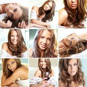 Collage of young woman posing in front of camera