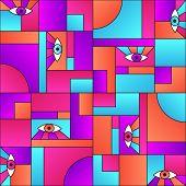 Modular Pattern With Eyes In Geometric Shapes Grid Scandinavian Fashion Retro Textile Print. Decorat poster