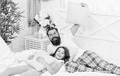Man Bearded Hipster With Childish Hairstyle Colorful Ponytails And Daughter In Pajamas. Guy And Girl poster