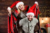 Christmas Fun. Interesting Ideas Celebration. Man And Woman Santa Claus Hats Cheerful Celebrating Ne poster