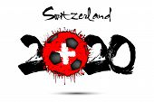 Abstract Numbers 2020 And Soccer Ball Painted In The Colors Of The Switzerland Flag In Grunge Style. poster