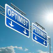 Optimista o pesimista concepto.