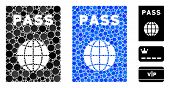 Passport Composition Of Filled Circles In Variable Sizes And Color Tints, Based On Passport Icon. Ve poster