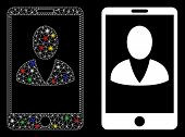 Flare Mesh Mobile User Profile Icon With Lightspot Effect. Abstract Illuminated Model Of Mobile User poster