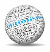 Optimism concept in word tag cloud on 3d sphere
