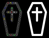 Flare Mesh Christian Coffin Icon With Glitter Effect. Abstract Illuminated Model Of Christian Coffin poster