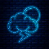 Glowing Neon Line Storm Icon Isolated On Brick Wall Background. Cloud With Lightning And Sun Sign. W poster