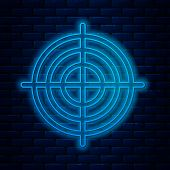 Glowing Neon Line Target Sport For Shooting Competition Icon Isolated On Brick Wall Background. Clea poster