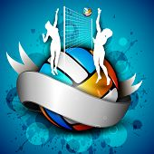 picture of volleyball  - Colorful volleyball with shiny silver ribbon with girl players - JPG