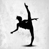 Silhouette of gymnastic girl on abstract grungy grey background. EPS10.
