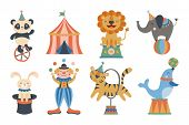 Cute Circus Animals And Clown Character Design. Childish Print For T-shirt, Apparel, Cards And Nurse poster
