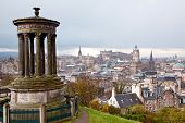 Edinburgh Skylines building and castle from Calton Hill Scotland UK