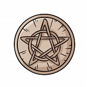 Pentacle Occult Sign In A Circle. Wooden Pentagram Hand Drawn Magic Doodle. Isolated Vector Pagan Wi poster
