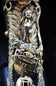 Detail Of Lion Carving At The Former Residence Of Chen Baozhen, Fenghuang, China poster