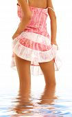 stock photo of upskirt  - classical upskirt picture of girl in pink dress - JPG