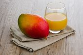 stock photo of fruit shake  - Closeup detail of fresh mango juice and mango fruit - JPG