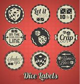 Vector Set: Vintage Dice Labels and Icons