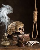 Symbols of death sentence with judge's wig and noose