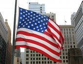 American flags in downtown Chicago, Illinois