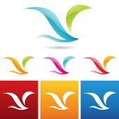 vector illustration of glossy abstract bird icons