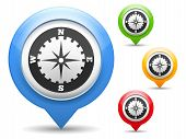 stock photo of gps navigation  - Map marker with icon of a compass - JPG