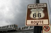 Historic Illinois US 66 Route Sign And Chicago 'L' Train
