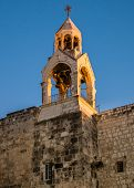 stock photo of crucifiction  - The bell tower atop the Church of the Nativity - JPG