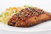 Balsamic and sesame salmon