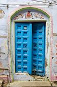 Ancient Blue Wooden Door In Varanasi,india