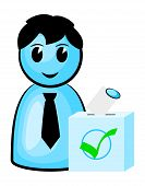 picture of poll  - vector illustration of a voter at the polls - JPG