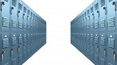 pic of combinations  - A perspective view of a stack of blue metal school lockers with combination locks and dorrs shut on an isolated background - JPG