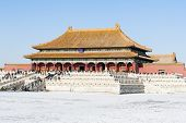 Tourists Visit Taihe Palace Of Forbidden City In Winter