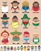 stock photo of national costume  - Set of 12 characters dressed in different national costumes - JPG