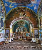 Interior of renovated old church of Saint  Ttrinity   Monastery in village Sataniv, Ukraine
