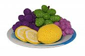 Knitted Lemons And Grapes On A Plate