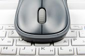 A Wireless Mouse Placed On Laptop Keyboard