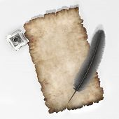 picture of inkpot  - piece of parchemnt ink quill and inkpot 3d - JPG