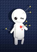 stock photo of love hurts  - A white pinned cartoon love voodoo dummy hearted - JPG