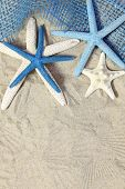 White and blue sea stars on sand