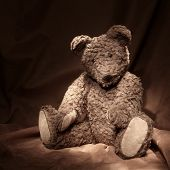 Teddy bear on brown background