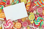 stock photo of bonbon  - Mixed colorful fruit bonbon close up - JPG