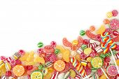 picture of lolli  - Mixed colorful fruit bonbon close up - JPG
