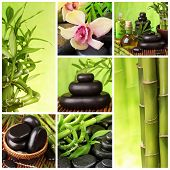 Collage of hot stones and bamboo