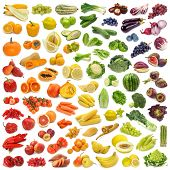 stock photo of exotic_food  - Rainbow collection of fruits and vegetables - JPG