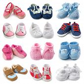 stock photo of christening  - Baby shoes collection - JPG
