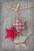 stock photo of clotheslines  - Christmas decoration over wooden background - JPG