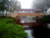 image of old bridge  - Covered bridge in late summer morning mist - JPG
